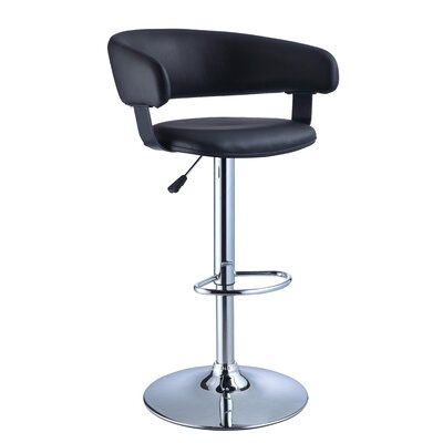 Musgrove Adjustable Height Swivel Bar Stool Finish: Black