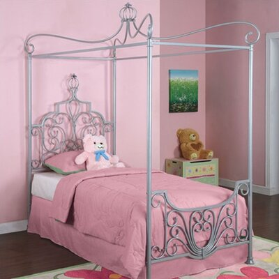 Size Twin  on Powell Princess Rebecca Sparkle Silver Canopy Twin Size Bed   Wayfair