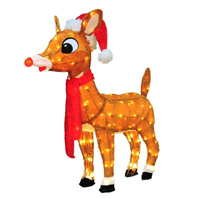 Soft Tinsel Rudolph the Red Nosed Reindeer Christmas Decoration with lights with Lights 60536