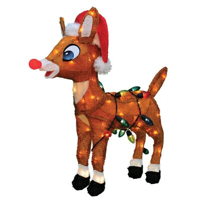 Soft Tinsel Rudolph the Red Nosed Reindeer Christmas Decoration with Lights 60552