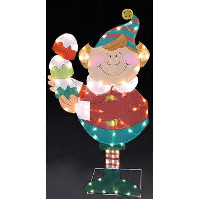 Elf Holding Gumdrops Lighted Christmas Yard Art