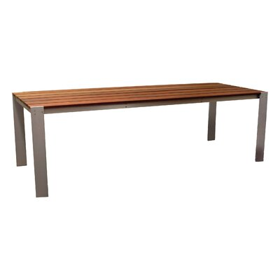 "Image of Luma Aluminum Dining Table Table Size: 34""x72"", Finish: Sand Shade Polyboard"