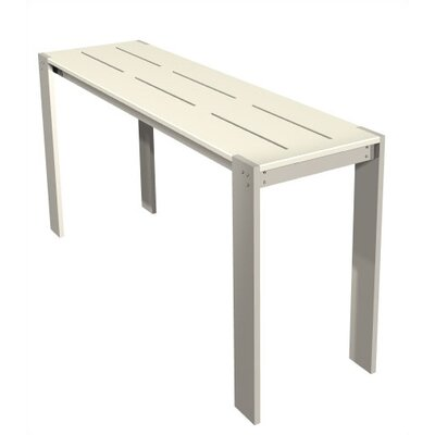 Luma Rectangular Side Table Table Size: 16.75x84, Finish: Polar White Polyboard