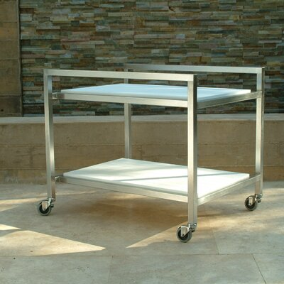 Talt Bar Serving Cart Frame: Stainless Steel, Surface: Glacier Grey Polyboard