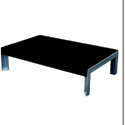 Etra Coffee Table Base Finish: Stainless Steel, Top Finish: Black Polyboard