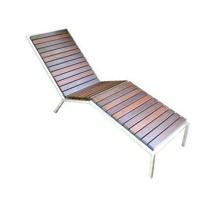Talt Fixed Chaise Lounge Frame Finish: Stainless Steel, Surface Finish: Black Polyboard