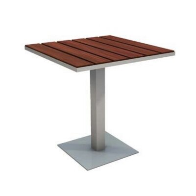 Etra Caf� Table Table Size: 24 W x 24 D, Top Finish: Silver Powder Coated Steel
