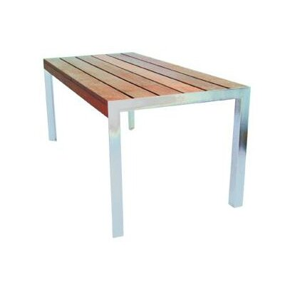 Etra Dining Table Base Finish: Stainless Steel, Top Finish: Seafoam Polyboard, Table Size: 6