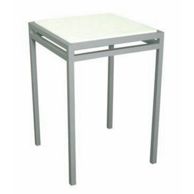 Talt Bar Table Base Finish: Stainless Steel, Top Finish: Polar White Polyboard