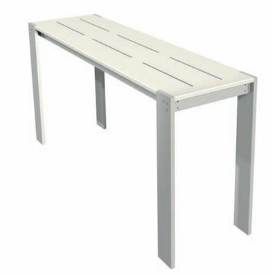 Luma Rectangular Side Table Table Size: 16.75x84, Finish: Dolphin Grey Polyboard