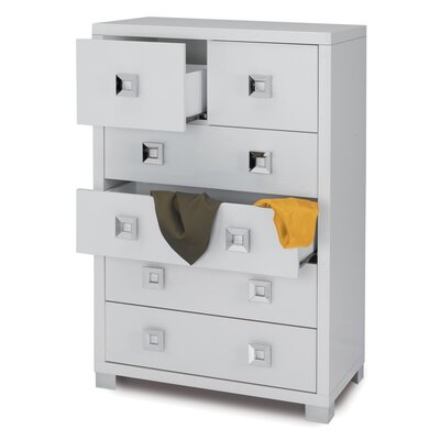 Quadrante 6 Drawer Dresser Color: Glossy White