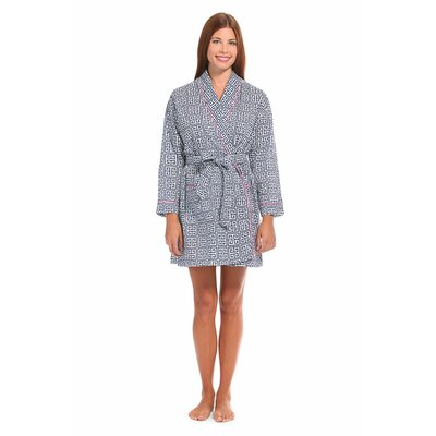 Greek Key Cotton Short Robe Size: Medium