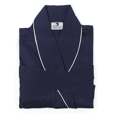 Sateen Bathrobe Size: Small, Color: Navy
