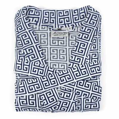 Greek Key Knit Bathrobe Size: Small