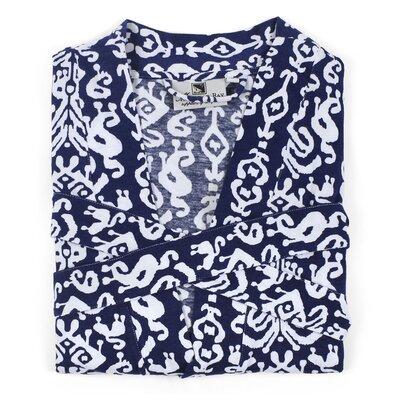 Ikat Knit Bathrobe Size: Medium, Color: Navy