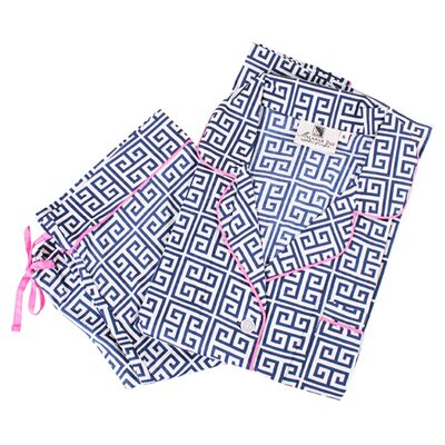 Greek Key Pajama Set Size: Medium