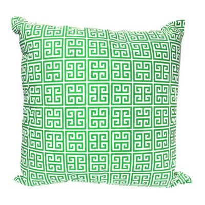 Greek Key Pillow in Green Size: 18 x 18