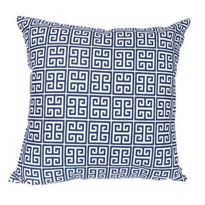 Greek Key Pillow in Navy Size: 22 x 22