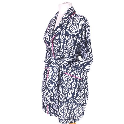 Ikat Robe in Navy Size: Medium/Large