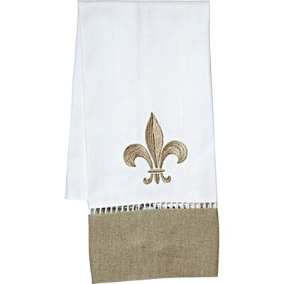 Fleur de Lis Hand Towel in White