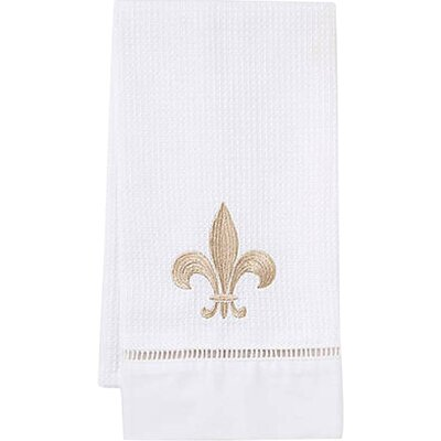 Fleur de Lis Hand Towel in Beige