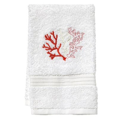 Terry Fingertip Towel color: White/Coral