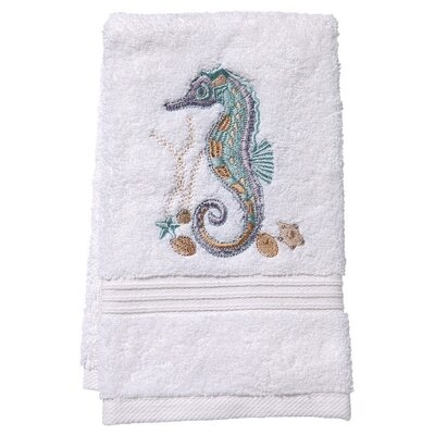 Terry Fingertip Towel Color: White/Aqua