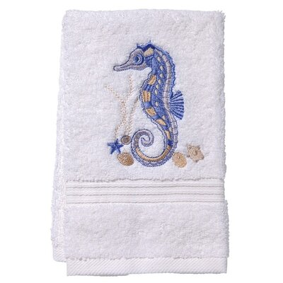 Terry Fingertip Towel Color: White/Blue