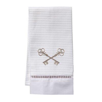 Waffle Weave Guest Crossed Keys Hand Towel