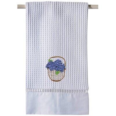 Blue Waffle Weave Guest Hydrangea Basket Hand Towel