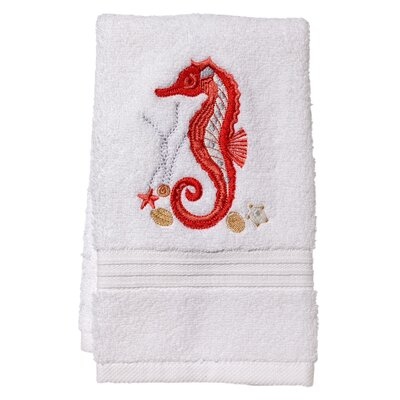 Terry Fingertip Towel Color: White/Red