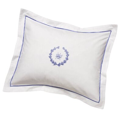 Bee Wreath Percale Cotton Pillow Cover Color: Blue