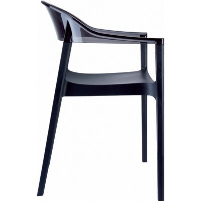 Carmen Stacking Dining Arm Chair (Set of 2) Back Color: Transparent Black