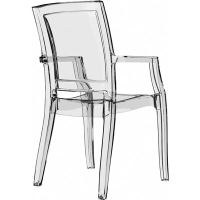 Harvill Arthur Stacking Patio Dining Chair (Set of 4) Upholstery: Transparent Clear