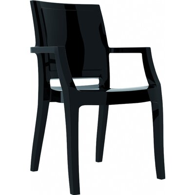 Arthur Stacking Arm Chair (Set of 4) Upholstery: Glossy Black