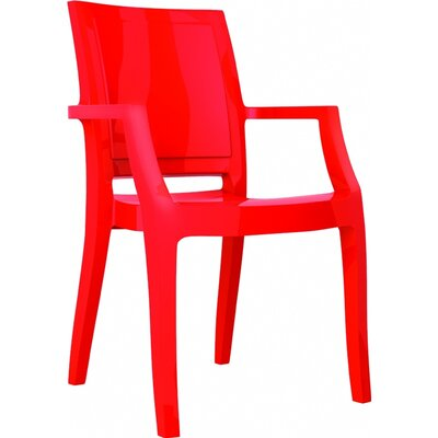 Arthur Stacking Arm Chair (Set of 4) Upholstery: Glossy Red