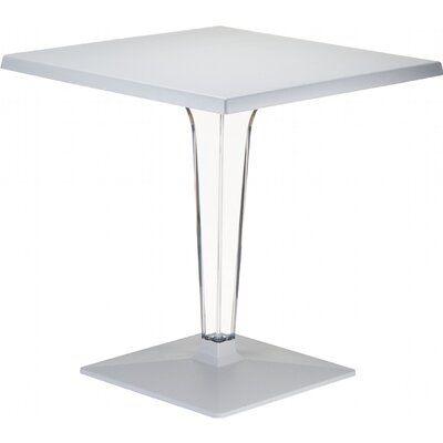 Ice Werzalit Dining Table Table Size: 24 W x 24 D, Finish: Silver