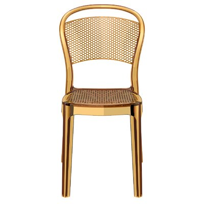Bee Stacking Dining Side Chair (Set of 2) Upholstery: Transparent Amber