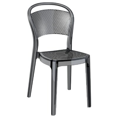Flory Bee Stacking Patio Dining Chair (Set of 2) Upholstery: Transparent Black