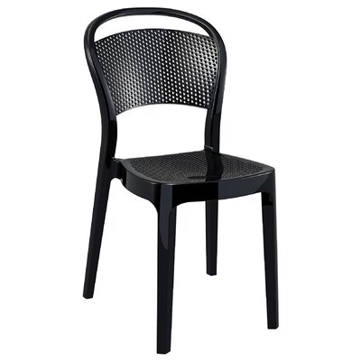 Flory Bee Stacking Patio Dining Chair (Set of 2) Upholstery: Glossy Black