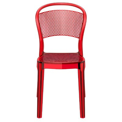 Flory Bee Stacking Patio Dining Chair (Set of 2) Upholstery: Transparent Red