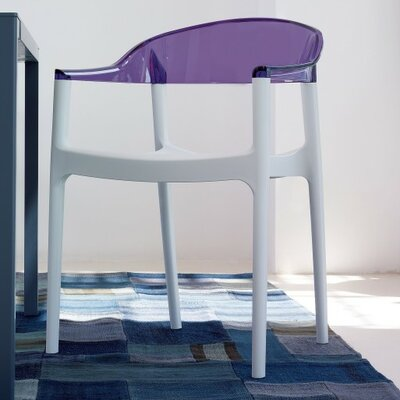 Carmen Stacking Dining Arm Chair (Set of 4) Back Color: Transparent Violet