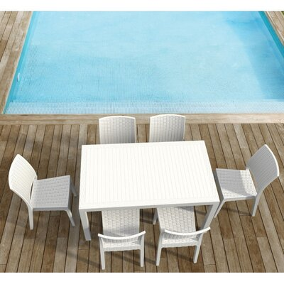 Orlando Wickerlook 7 Piece Dining Set Finish: White