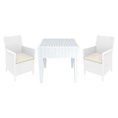 California Wickerlook 3 Piece Deep Seating Group Finish: White