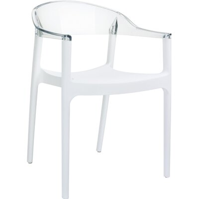 Carmen Stacking Dining Arm Chair (Set of 4) Back Color: Clear
