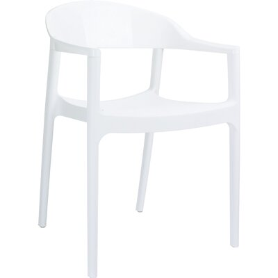 Carmen Stacking Dining Arm Chair (Set of 4) Back Color: Glossy White