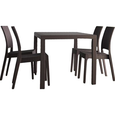 Orlando Wickerlook 5 Piece Dining Set Finish: White
