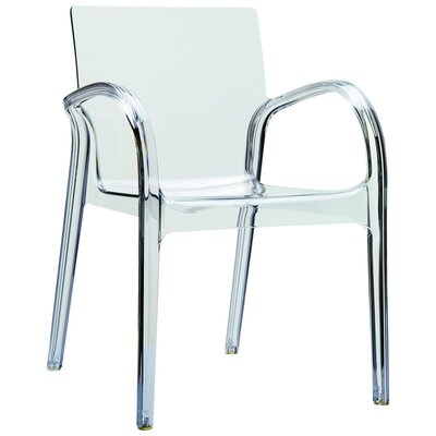 Dejavu Stacking Patio Dining Chair (Set of 4) Finish: Transparent Gray