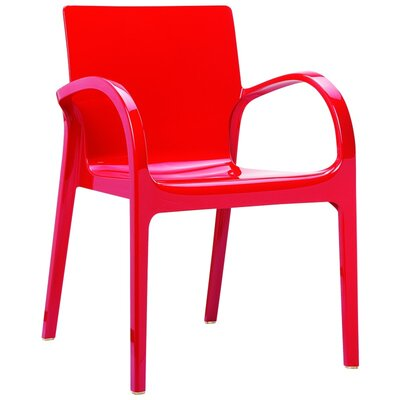 Dejavu Stacking Dining Arm Chair (Set of 4) Finish: Red