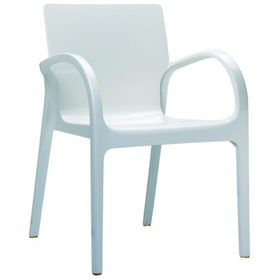 Dejavu Stacking Dining Arm Chair (Set of 4) Finish: White